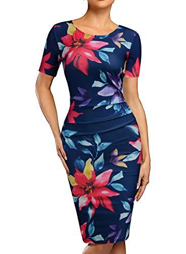 REPHYLLIS Women's Retro Ruffles Slim Floral Bodycon Sheath Work Pencil Dresses(Colorful, XXL)