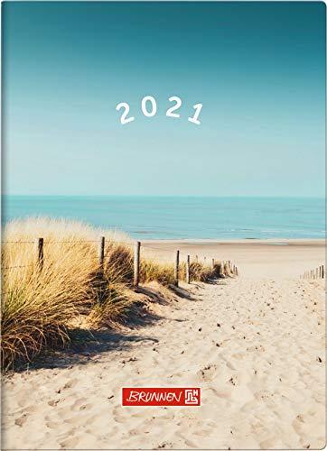 BRUNNEN 1073115021 Taschenkalender Modell 731 15, 2 Seiten = 1 Woche, 10 x 14 cm, Grafik-Einband Strand, Kalendarium 2021