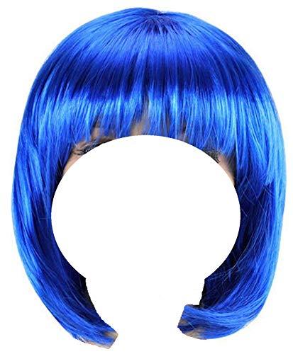 Matissa Peluca de Bob recta corta para cosplay, juego de rol, disfraz de fiesta POP para mujer (azul real)