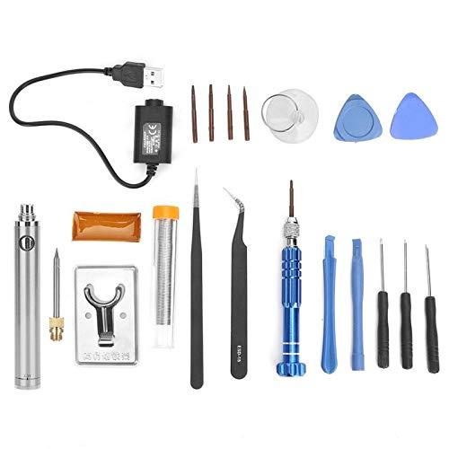 Soldador, soldador recargable, juego de soldador de carga USB, herramienta de soldadura de pluma de hierro de soldadura eléctrica inalámbrica portátil(Plata)