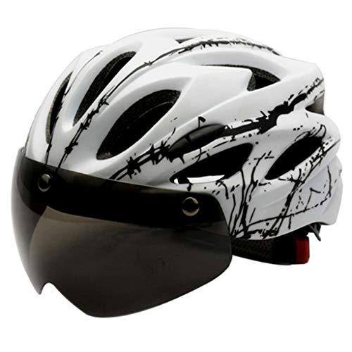 harayaa Casco de Adulto Ajustable para Bicicleta de montaña de Carretera Protector de Cabeza con Visera magnética extraíble - Blanco 🔥