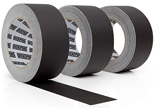 Lockport Black Gaffers Tape 3 Pack– 30 Yards x 2 Inches – Waterproof, No Residue, Non-Reflective, Easy Tear, Matte Gaffer Stage Tape – Gaff Cloth Tape for Photography, Filming Backdrop, Production