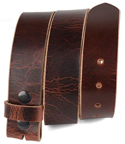 Men's Belt for Buckles Genuine full Grain One Piece leather Vintage Distressed,Snap on Strap belts for men, no buckle,USA,waxy pull up brown, K2-WPUB, 2013, size 38