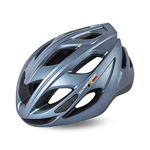 MOKFIRE Fahrradhelm mit LED-Rücklicht, Straße Mountainbike Radfahren Helm leichtes Fahrrad Fahrrad Helme für Erwachsene Männer/Frauen 22,4-24,4 Zoll