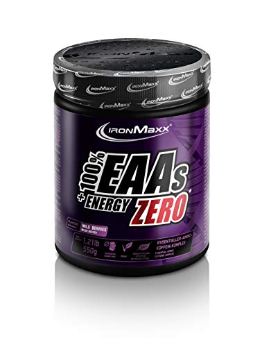 IronMaxx EAAs + Energy - 550 g Pulver - 60 Portionen - Wild Berries - Pre Workout Booster mit Aminosäuren & Koffein - Zuckerfrei - Beliebt bei Sportlern für den Muskelaufbau - Designed in Germany
