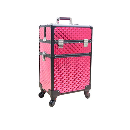 AOHMG 2 en 1 Aluminium Maquillage Valise Trolley, Portable Professional Maquillage Valise De CosméTiques, avec verrouillables clés Mallette Maquillage Trolley,Red