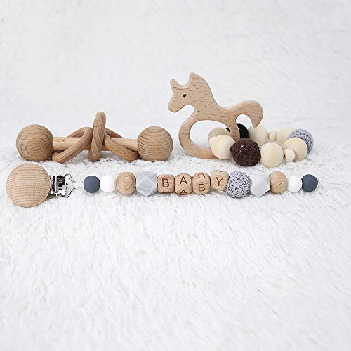 Wood Baby Rattle - Montessori Inspired Rattle for Babies Perfect Grasping Teething Toy for Toddlers Baby Teething Bracelet Crochet Beads Bracelet and Pacifier Clips Chewable Montessori Toy Shower Gift