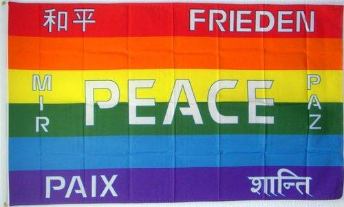 Qualitäts Fahne Flagge Peace Frieden (mehrsprachig) 90 x 150 cm mit verstärktem Hissband