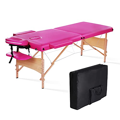 Massage Table Bed Professional Portable Facial SPA Bed Heigh Adjustable with Carrying Bag 2 Fold, Pink. (Pink)