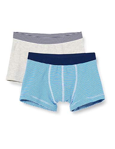 Petit Bateau Damen 5618200 Jungen Kurze Unterhose, Grau + Blau/Weiß, 6 Jahre