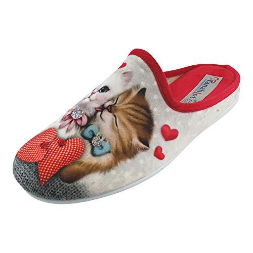 SCHUHKÖNIG Hausschuh Pantoffel Katzen mit Schleifen und Herzen 5553261 (EU 41)