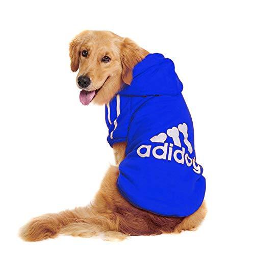 Rdc Pet Großer Hund Kapuzenpullis Hunde Bekleidung Fleece Hoodie Sweater Baumwolljacke Shirt von 3XL bis 9XL Großer Hund Mittlerer (Blau, 4XL)