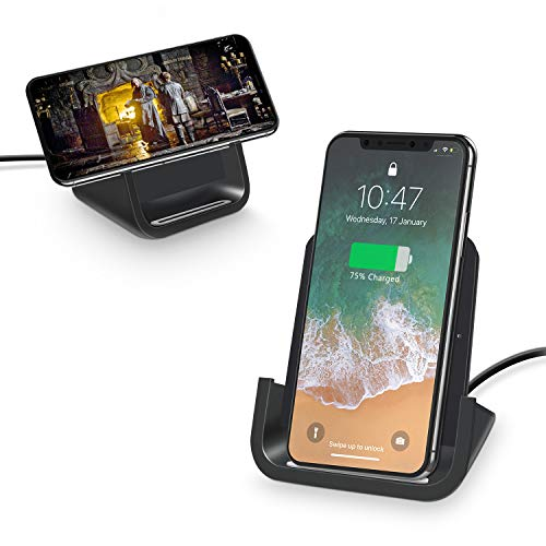 Wireless Charger, YW YUWISS 10W Wireless Charging Stand Dock Cordless Chargers Compatible with iPhone11 XR Max/XS/X/8/8Plus Samsung Galaxy S10/S10 Plus S9/S9 Plus/S10E/S9 Qi-Enabled Devices (Black)