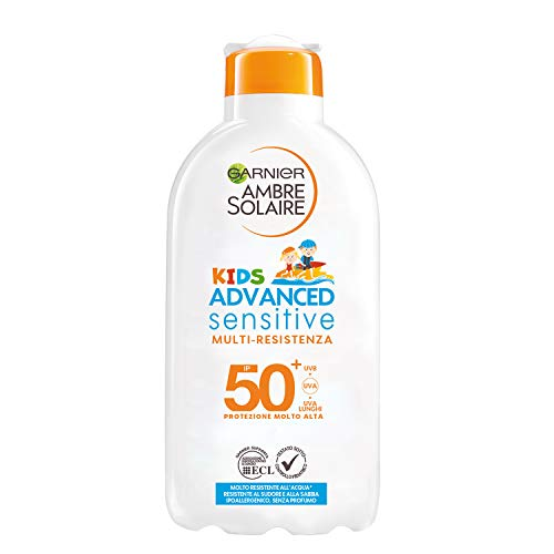 Garnier Ambre Solaire Latte Protettivo IP 50+ Advanced Sensitive Kids, Protezione Molto Alta, Multi-Resistenza, 200 ml