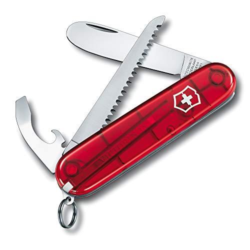Victorinox My First Victorinox Petit Couteau de Poche Suisse pour Enfants, Léger, Multitool, 9 Fonctions, Rouge Transparent