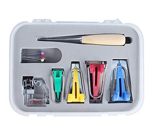 TOPBATHY Schrägbandformer Schrägband Werkzeug Set in 6mm,12mm, 18mm, 25mm Bias Tape Quilting Tools Kit für DIY Patchwork