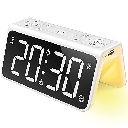【2021最新】BUNANA 寝室 光 目覚まし時計 置き時計 LED デジタル時計 クロックラジオ 大音量 スヌーズ機能 8種類のアラーム音 7色ライト 無段階調光 デュアルUSB充電 子供、妊婦、お年寄りに最適 白