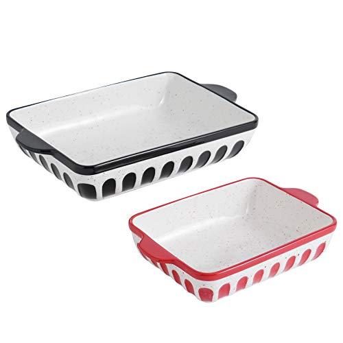 GoldenPlayer Baking Dish Set 2 PC Casserole Dish Set Rectangular Lasagna Pans Bakeware for Cooking Dinner Kitchen