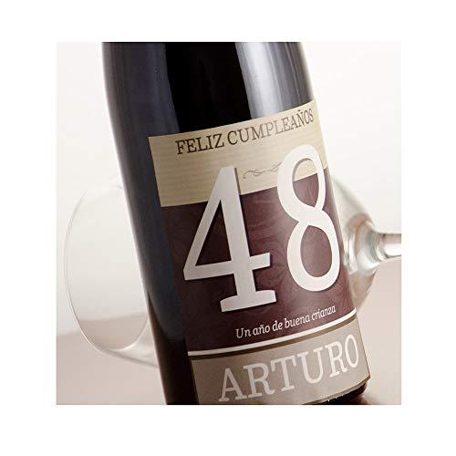Regalo Personalizable para cumpleaños: Botella de Vino 'Feliz cumpleaños' Personalizada con su Nombre y Edad