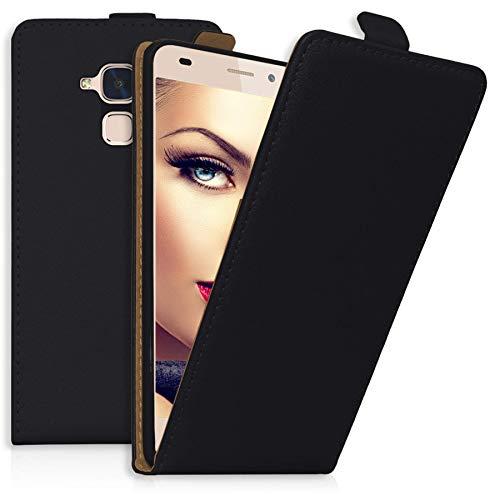 mtb more energy® Flip-Hülle Tasche für Huawei GT3 / Honor 5C / Honor 7 Lite (5.2'') - Schwarz - Kunstleder - Schutz-Tasche Cover Hülle