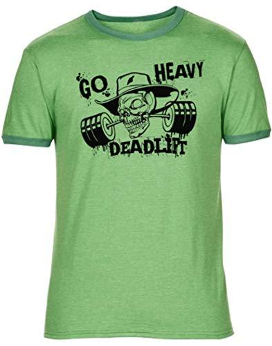 GO HEAVY Herren Rundhals Fitness Gym Sport T-Shirt | Kurzarm Work-Out Trainings Männer | Aufdruck Deadlift Grün S