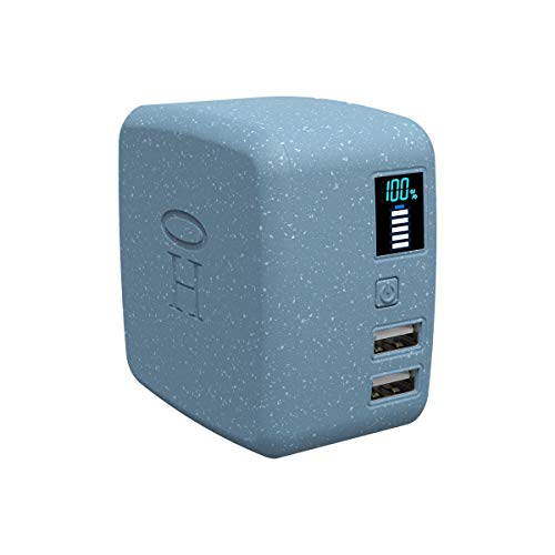 HALO Portable Phone Charger Power Cube 10,000mAh - Innovative Car Charger Power Bank with Dual USB Compatible Charging Ports, Built-in Charging Adapters - Blue (801105860)