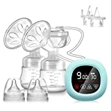 PiAEK Electric Breast Pump Double Rechargeable Portable Dual Breastfeeding Pump with Touchscreen Milk Pump with Two Additional Duckbill Valves Quiet BPA Free 3 Modes & 27 Levels LED Touch Screen