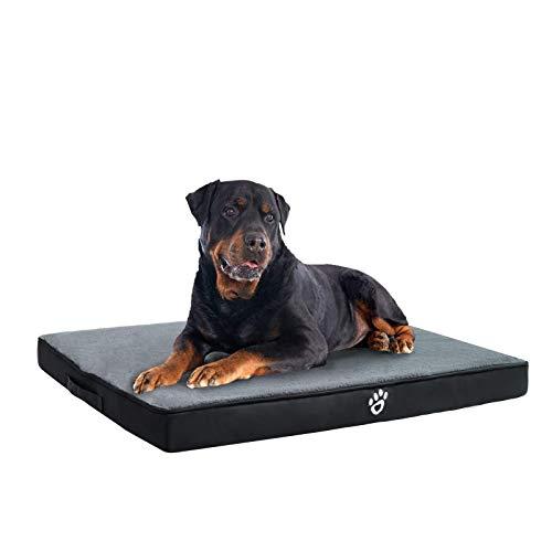 FRISTONE Cama ortopédica para perros pequeños, medianos y grandes, lavable, con forma de caja de huevo, cojín para perros con funda extraíble, color negro