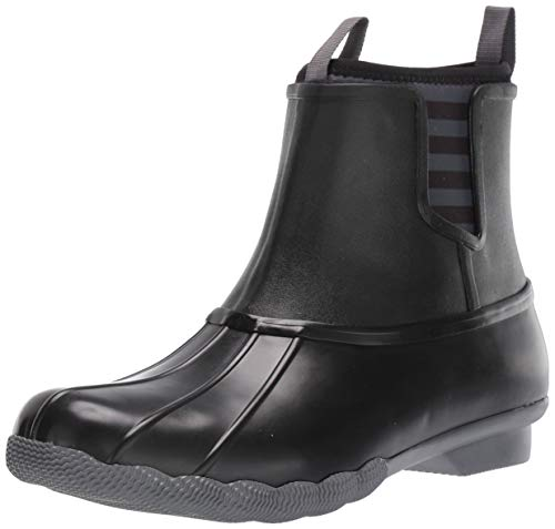 Sperry Womens Saltwater Chelsea Rubber Boots, Black, 8.5