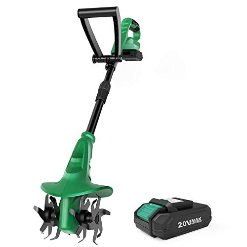Cordless Tiller Cultivator - KIMO 7.8-Inch Electric Tiller Cultivator, 20V 280RPM Battery Tiller w/24 Steel Tines Max Tilling 7.8-Inch Width & 5-Inch Depth for Digging, Weed Removal & Soil Cultivation