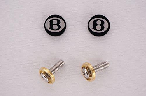 Fit Bentley Laser Engraved Black Screw Cap Cover For License Plate Frame, Set Of 2