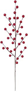 24 Artificial Red Holly Berry Stem Picks - Decorative Wire Stem Branch Sprays for Christmas Tree Decoration, Holiday Décor, Silk Flower Arrangements, Home DIY Crafts, 35 Red Berries on each Stem