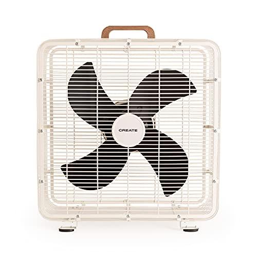 CREATE AIR FLOOR BOX - Ventilador de Suelo Industrial, 3 velocidades, 4 Aspas de Aluminio, Cuerpo Acero Inoxidable, Potente Flujo de Aire, Rejilla de Protección, con Asa de Transporte, 90W (Blanco)