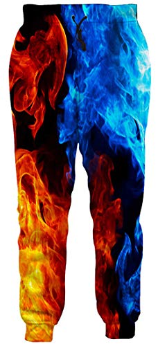 Tapered Sweatpants Men 3D Burning Fire Flame Jogger Pants Casual Relaxed Fit Big and Tall Athletic Pants Drawstring Long Jersey Pants with Pockets for Women Male Gay Guys, XX-Large