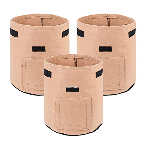 Potato Grow Bags ,3 Pack 7 Gallon Plant Growing Bags Fabric Pots Plant Bags with Handles and Flap Window Garden Vegetable Growing Bags Bag Plant Pot for plant potato, peanut and vegetables. (Brown)
