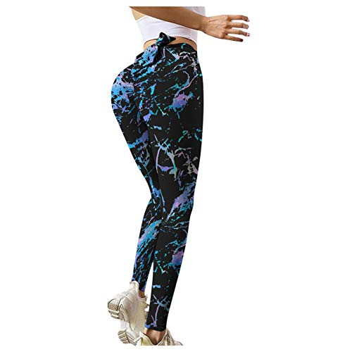 samLIKE- Leggings Damen Schwarz Yoga Hose High-Waist Sportleggins Doppelseitiges Schleifen Nude Chrysanthemum Textured Ruched Trainingshose Hotpants Kompression Sport Fitness mit Bauchkontrolle