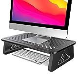 ATUMTEK Soporte para Monitor, Elevador Monitor de Ordenador con Plataforma Metálica más Grande y con Ventilación para Ordenador, Portátil, PC, Impresora, Proyector y Más | Negro