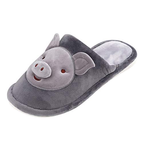 LQQSTORE Damen Hausschuhe Herren Winter Warm Cartoon Schwein rutschfest Plüsch Pantoffeln Indoors Schuhe (Grau, 42)
