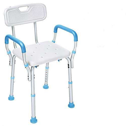 Health Line Massage Products Tool-Free Assembly Shower Chair Bath Bench Stool Adjustable Height with...