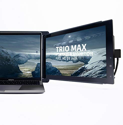 "Trio Max Portable Monitor for Laptop, 14.1' Full HD IPS Display, Dual or Triple Laptop Monitor Screen, Dual-Side Sliding, USB A/Type-C Plug and Play Monitor for 13""-17"" Laptops(One Trio Max Monitor)"