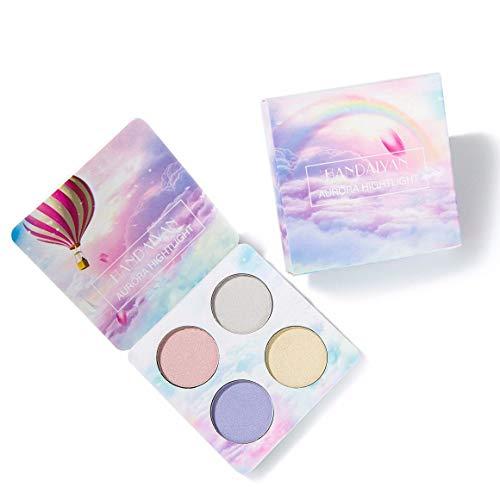 Funnyrunstore 4 Colors/SET Natural Eye Make Up Highlighter Palette Glow Kit Polvo facial Sombra de ojos Resaltar Herramientas de maquillaje cosmético