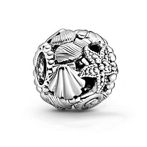 LIIHVYI Pandora Charms para Mujeres Cuentas Plata De Ley 925 Corazón De Conchas De Estrella De Mar DIY Compatible con Pulseras Europeos Collars