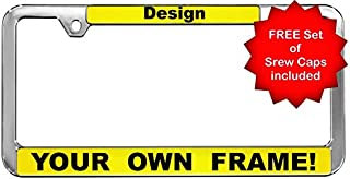 Custom Personalized Chrome-Plated Plastic Thin Top   Narrow Top Car License Plate Frame with Free caps - Yellow/Black