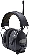 Protear Bluetooth Radio Headphones AM FM Noise Reduction Safety Earmuffs with Rechargeable 1200mAh Lithium Battery & Built-in Mic,NRR 25dB Ear Protection For Mowing,Black