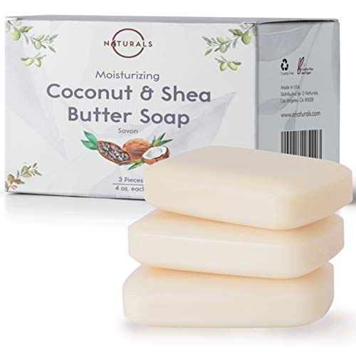 O Naturals 3 Piece Moisturizing Organic Coconut Oil, Shea Butter Bar Soaps. Softens, Nourishes Dry Skin & Sensitive Skin. Face, Hands & Body Soap. Made in USA. Triple Milled, Vegan 4oz Bars
