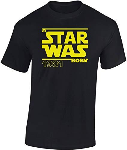 Geburtstags Shirt: A Star was Born 1981-40 Jahre - Vierzig-Ster Geburtstag T-Shirt - Geschenk zum 40. - Frau-en - Mann Männer - Damen & Herren - Lustig - Birthday - Jahrgang (XL)