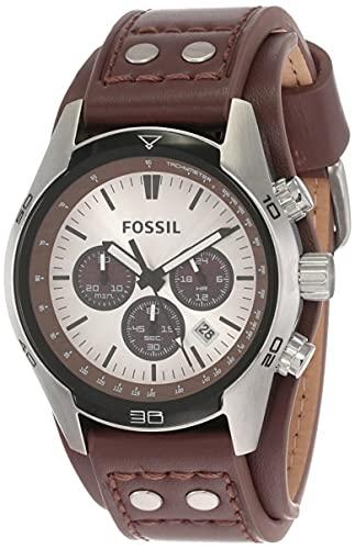 Fossil Herren Chronograph Quarz Uhr mit Leder Armband CH2565