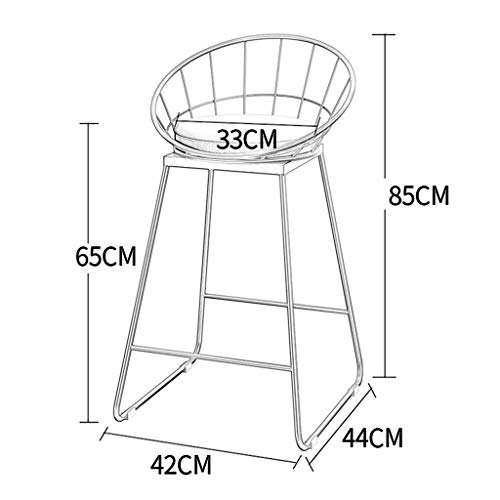 XP Lygdn Industrial Barstools Chair Footrest Stool with Backrest round Cushion Seat Dining Chairs for Kitchen   Pub   Gold Metal Legs,White