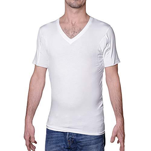 Camiseta interior a prueba de sudor para hombres, cuello en V, color blanco, almohadillas de sudor - blanco - Small