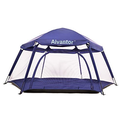 """Alvantor Playpen Play Yard Space Canopy Fence Pin 6 Panel Pop Up Foldable and Portable Lightweight Safe Indoor Outdoor Infants Babies Toddlers Kids 7'x7'x44"""" Navy Patent"""